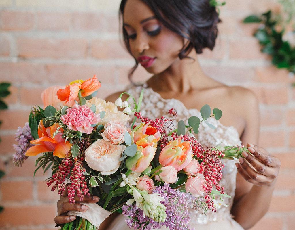 Beautiful Bride colourful bridal bouquet Hamilton Niagara Toronto Wedding Florist