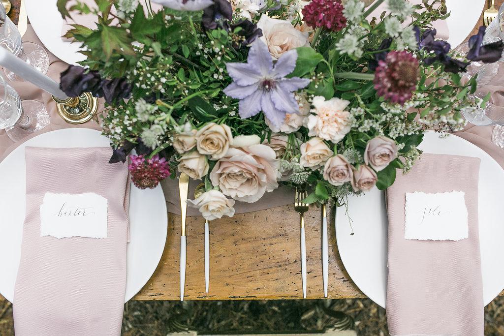 Table Setting Center Piece flowers soft palette Hamilton Toronto Niagara Wedding Florist